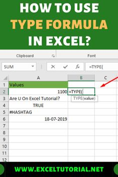 If you want to know how to check the data type of your values then this tutorial is really written for you. The TYPE Formula is actually there in excel to check the type of data of the values. Computer Lessons, Technology Lessons, Computer Help, Microsoft Excel Formulas, I Need A Job, Excel Hacks, Powerpoint Tips, Library Lessons, Study Notes