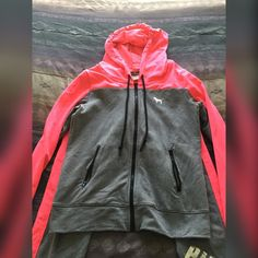 VS PINK sweat suit NEW!!! VS PINK sweat suit: zip up hoodie + matching collegiate skinny pants. size small. Brand new condition worn + washed once. Free hoodie included w/ purchase. NO TRADES!!!!!!!!!!!! PINK Victoria's Secret Tops Sweatshirts & Hoodies