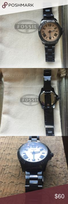 Fossil AM4614 Cecile Black Women's Watch Gently used women's fossil watch in great condition! Analog, rose gold dial tone, 100 meters water resistant, black stainless steel, 29 mm case size and working battery. Only worn a few times, very small scratch in center of the face. (as shown in photo) Reusable fossil watch tin and small fossil watch dust pouch included! Fossil Accessories Watches