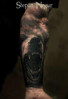 Tattoo Stepan Negur - tattoo's photo In the style Realistic, Male, Bea Wolf Tattoo Sleeve, Best Sleeve Tattoos, Tattoo Sleeve Designs, Dope Tattoos, Badass Tattoos, Body Art Tattoos, Arm Tattoos Forearm, Forearm Tattoo Design, Warrior Tattoos