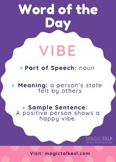 Word of the Day Learning English Is Fun, English Fun, English Language Learning, English Words, Learn English, Esl Resources, Parts Of Speech, Happy Vibes, Word Of The Day
