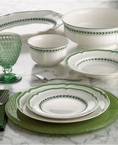 Villeroy & Boch offers a beautiful complement to the exuberant French Garden Collection with French Garden Green Line Dinnerware. Fresh and understated, this lovely porcelain adds a modern touch to classic French country style. Green Dinnerware, China Dinnerware Sets, White Dinner Plates, White Plates, Better Alone, French Bistro, Ceramic Tableware, Dish Sets, French Country Style