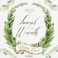 Laurel Wreath, Watercolor Hand Painted Clipart, Wedding Invitation, Green Leaves, Bay Leaf Wreaths, Individual files, greeting card download