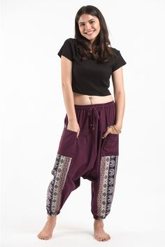 Elephant Aztec Cotton Harem Pants come with 2 perfect side pockets. They offer comfort and stylish look. Great for any occasion. Measurement: Waist: Hip: up to Length: Cotton Harem Pants, Purple Elephant, Elephant Pants, Things To Buy, Aztec, Pants For Women, My Style, Stylish, Free Shipping