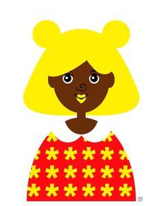 Girl 8 Art Print Retro Bear Girl Illustration by thepairabirds,