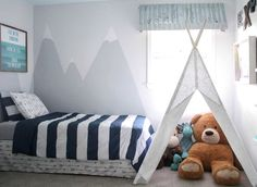 Boys Shared Bedroom Reveal: One Room Challenge. little boys room with teepee and mountain mural. Fun and colorful shared boys room. A mix of vintage and modern with plenty of DIY projects and other inexpensive decorating ideas. Kids Bedroom Boys, Boys Bedroom Decor, Baby Boy Rooms, Girl Rooms, Little Boys Rooms, Childs Bedroom, Toddler Rooms, Boy Decor, Baby Room