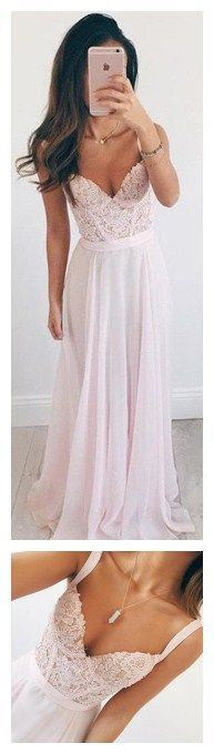 Charming Prom Dress,Long Pink Chiffon Evening Dress,Sleeveless Party