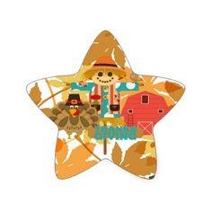 thanksgiving scarecrow star sticker - thanksgiving stickers holiday family happy thanksgiving
