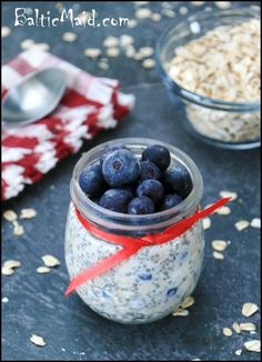 Blueberry maple refrigerator oatmeal ~ you can substitute in any fruit that's fresh and in season. this makes for a delicious, healthy breakfast!