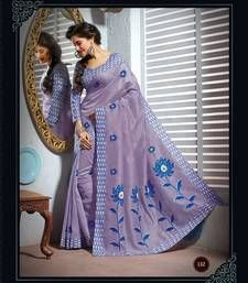 Buy Purple and Blue embroidered cotton saree with blouse cotton-saree online