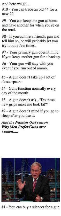 Top 10 Reasons Why men Prefer Guns Over Women