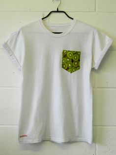 Men's Kiwi Pattern White Pocket TShirt Men's T by HeartLabelTees, £9.95