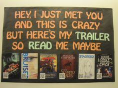 """Read Me Maybe"" Bulletin Board Idea. Students share book reviews they've written via barcodes that link the viewer to a document or webpage the student has developed. Very creative idea!"