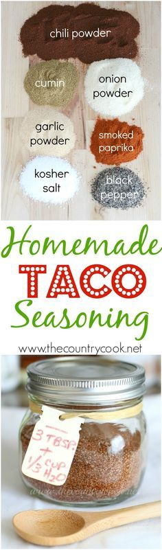 Homemade Taco Seasoning recipe from The Country Cook. Gluten-free, preservative-free but you still get ALL the flavor! Makes for the best homemade tacos!