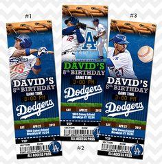 LA Dodgers, Los Angeles Dodgers, Ticket Invitation by KreateStudio on Etsy https://www.etsy.com/listing/203018865/la-dodgers-los-angeles-dodgers-ticket