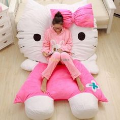 Soft Lovely Huge Giant Pink Hello Kitty Double Bed Carpet Sofa