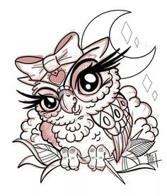 Lady Eule - Famous Last Words Baby Owl Tattoos, Cute Tattoos, Body Art Tattoos, Owl Tattoo Drawings, Art Drawings Sketches, Cute Owl Drawing, Owl Coloring Pages, Owl Watercolor, Owl Tattoo Design