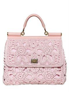Miss Sicily Crochet Raffia Canvas Bag in Pink by Dolce & Gabbana.