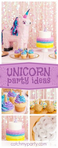 Take a look at this pretty sparkly Unicorn birthday party! The cupcakes decorated with Unicorn horns are so cute!! See more party ideas and share yours at CatchMyParty.com