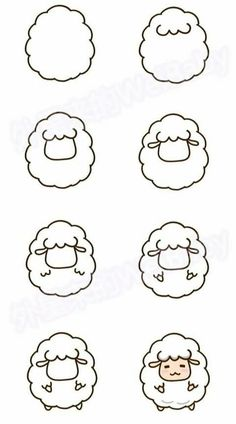 sheep drawing step by step - sheep cute step drawing . - Cute sheep drawing step by step - sheep cute step drawing . - Cute sheep drawing step by step - sheep cute step drawing . Easy Drawing Tutorial, Cute Easy Drawings, Kawaii Drawings, Doodle Drawings, Drawing Sketches, Drawing Ideas, Simple Drawings For Kids, Drawing Drawing, Simple Cartoon Drawings
