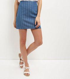 Parisian Blue Pinstripe Denim Skirt   New Look