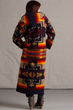 Womens Long Coats, Reversible Pendleton ® Wool Fabric Long Coat