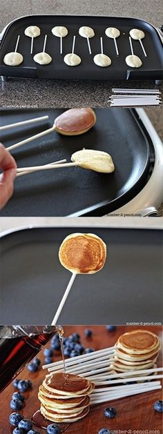 funny food - Pancake Pops (Fun idea for girls night in sweet treat, brunch, holiday, or any other party or event or gathering you may have! Think Food, I Love Food, Good Food, Yummy Food, Tasty, Yummy Yummy, Snacks, Waffles, Mini Pancakes