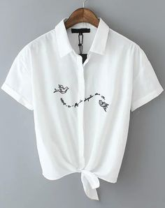 Buy White Lapel Short Sleeve Embroidered Crop Blouse from abaday.com, FREE shipping Worldwide - Fashion Clothing, Latest Street Fashion At Abaday.com