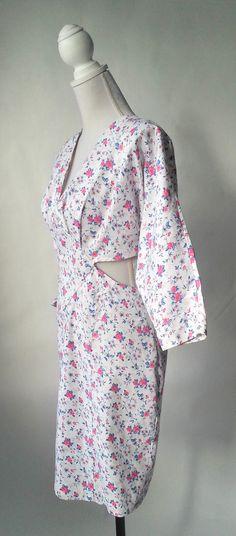 Vintage Dress 1980s Dress Floral Vintage Dress White by SLVintage