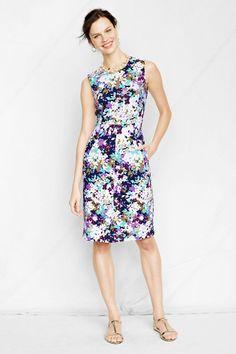 Women's Sleeveless Pattern Ponté Welt Pocket Dress from Lands' End