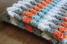 Baby Blanket Sporty Striped Afghan for Baby Boy or Girl Crochet