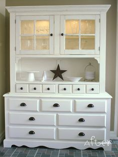 I need a hutch for my dining room.  These clever folks re-made this out of some older furniture--actually a hutch and a dresser.  How adorable!  I'll be keeping my eyes open for something I can re-finish.