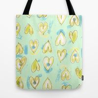 Lemon Drop Hearts Tote Bags by #ArtsyCrafteryStudio | Society6, yellow, mint green, blue, Valentine's Day