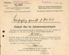 Original anti-Jewish tax demand from the German authorities to a Jewish person forcing him to pay a tax in the amount of 12400 RM (Reichsmark). German Jews were forced to pay a special Jewish Fine (Judenvermögensabgabe) after the Kristallnacht pogroms of November 1938.