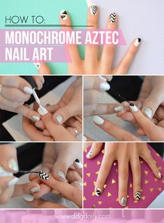 DDG DIY: Trophy Wife monochrome aztec nail art tutorial
