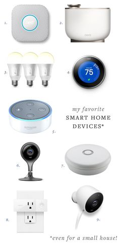 my favorite smart home devices (even for a small space!) — nest, alexa, cameras, leak detector, smart bulbs and plugs, thermostat and more! #smallspaces #smarthome