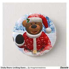 Dinky Bears: Looking Santa Claus Pinback Button
