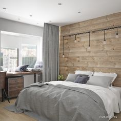 wooden feature wall with grays master bedroom