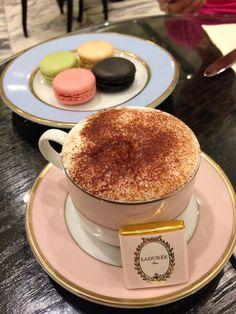 Macarons and Cafe au lait at Laduree, Paris, France