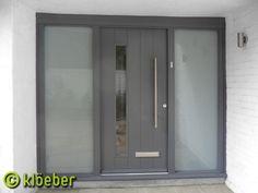 Kloeber FunkyFront, Bonn Frame Factory finished in painted finish with opaque glass Timber Front Door, Grey Front Doors, Front Door Porch, Modern Front Door, House Front Door, Front Door Decor, Porch Doors Uk, Aluminium Front Door, Console Table