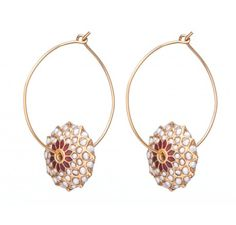 SKU-RPSE05474-Gold patra earring made with pearls