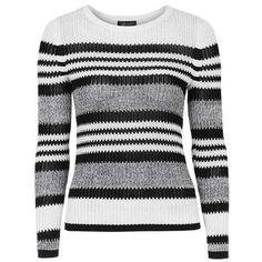 TopShop Modern Stitchy Stripe Top ($6.50) ❤ liked on Polyvore featuring tops, sweaters, crew knitwear, striped top, stripe top, striped knitwear and long sleeve mesh top