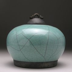 Green Ceramic lidded jar Raku Jar with lid art by DavisVachon, $78.00