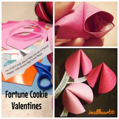 """Fortune Cookie Valentines - """"I'm FORTUNATE-ate to have you as a friend! Happy Valentine's Day!""""Paper circle, fold in half but do not crease. Using your thumb & ring finger, hold the ends & at the same time, put your pointer finger in the middle, bend the two ends together. Use double stick tape to put in the middle to seal it.Put tape on the same side as the """"fortune"""" to tape to the top inside of your """"cookie"""". Use double stick tape to put under your Kisses/candy & put it on the other…"""