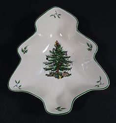 Spode Christmas Tree Green Trim Small Tree Shaped Dish 6 inches