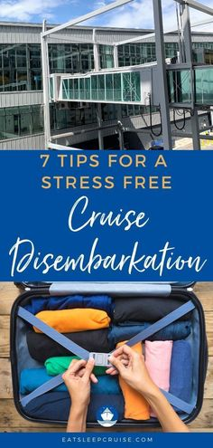 How to have a stress free Cruise Disembarkation. No one likes the last day of a cruise. We show you how to reduce the stress of cruise disembarkation with these seven helpful disembarkation tips. Best Cruise, Cruise Port, Cruise Travel, Cruise Vacation, Vacations, Disney Cruise, Royal Caribbean, Caribbean Cruise, Cruise Excursions