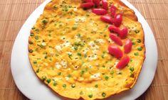 Omeleta s dýní hokaidó a zeleným hráškem