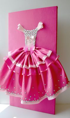 Hot pink princess dress. A large 12X24 princess dress wall art on a satin upholstered canvas. Princess dress is made with satin, tulle and silk