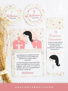 INVITACIÓN - PRIMERA COMUNIÓN - NIÑA ORANDO - imprimible