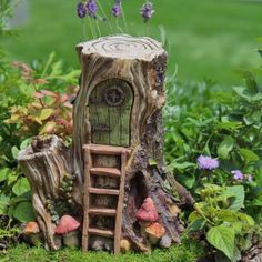Hollow-wood Hut w/hinged door for the Fairy who wants to blend into the landscape for privacy sake or as a playhouse for the wee Fairies. Dimensions: 7.25″ Tall | 7″ Wide | 5″ Deep                                                                                                                                                                                 More